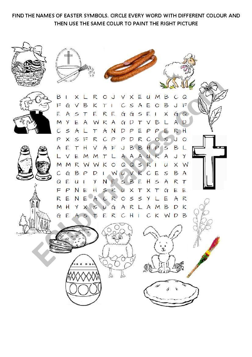 EASTER SYMBOLS WORDSEARCH worksheet