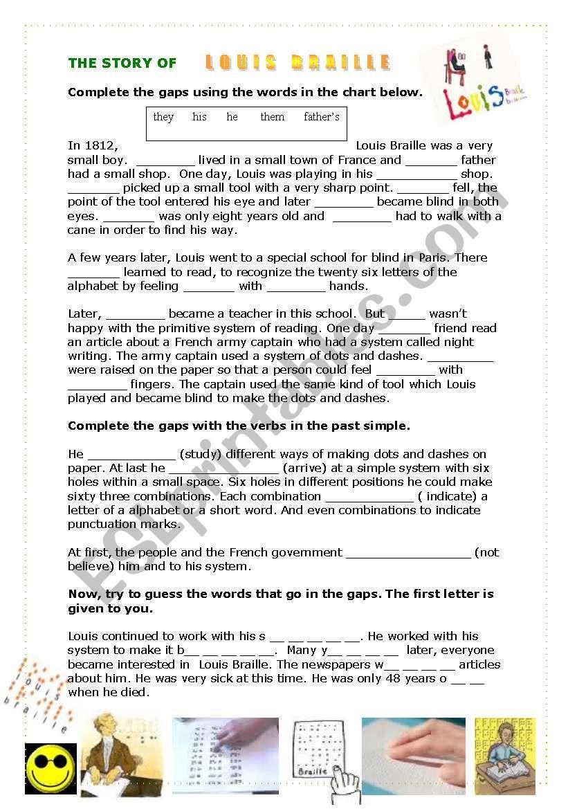 The Story Of Louis Braille Esl Worksheet By Gloriawpai