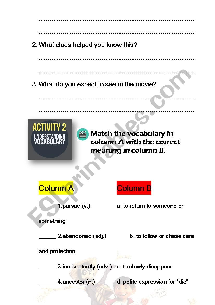 English worksheets: Coco Movie: Reading Comprehension