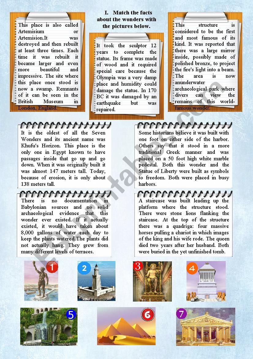 The seven wonders of the ancient world - ESL worksheet by
