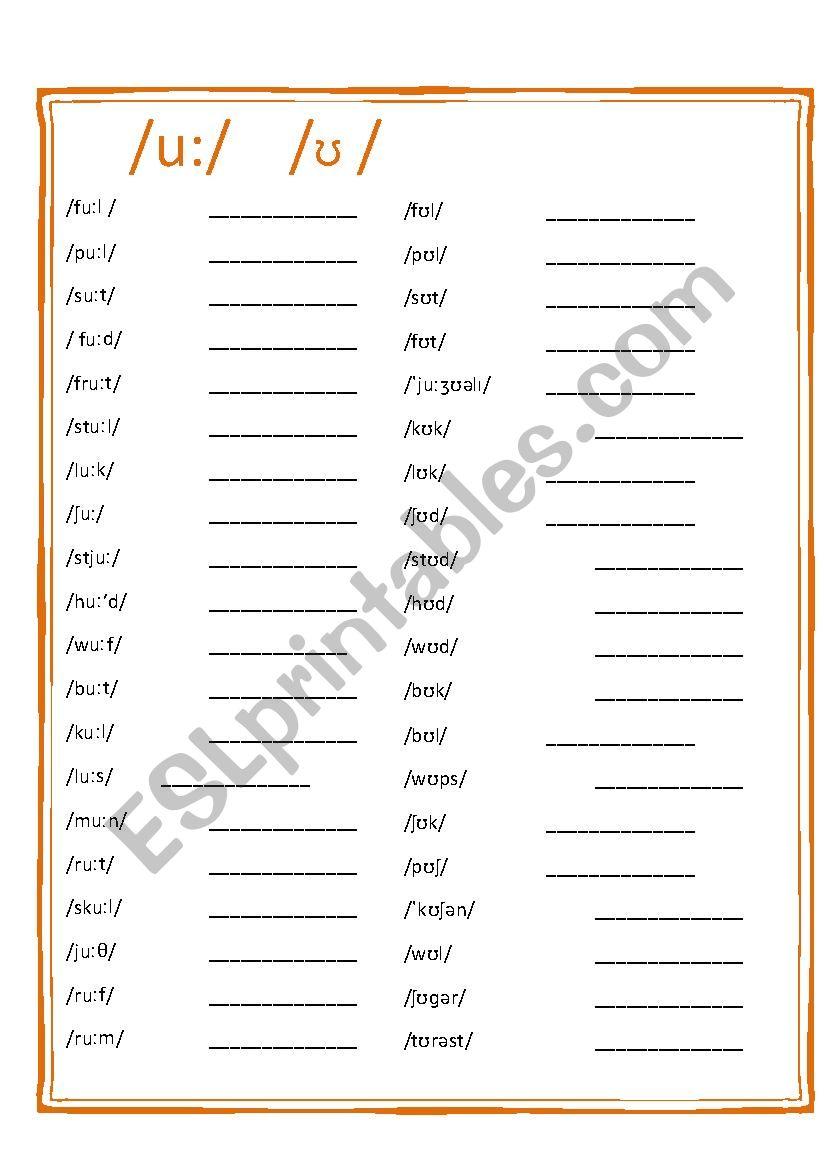 Pronunciation worksheet