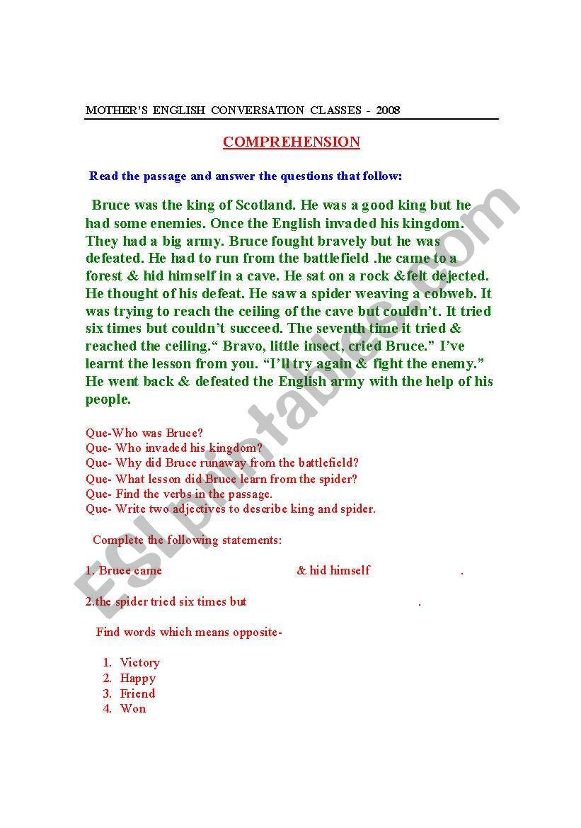 Comprehensive Skills worksheet