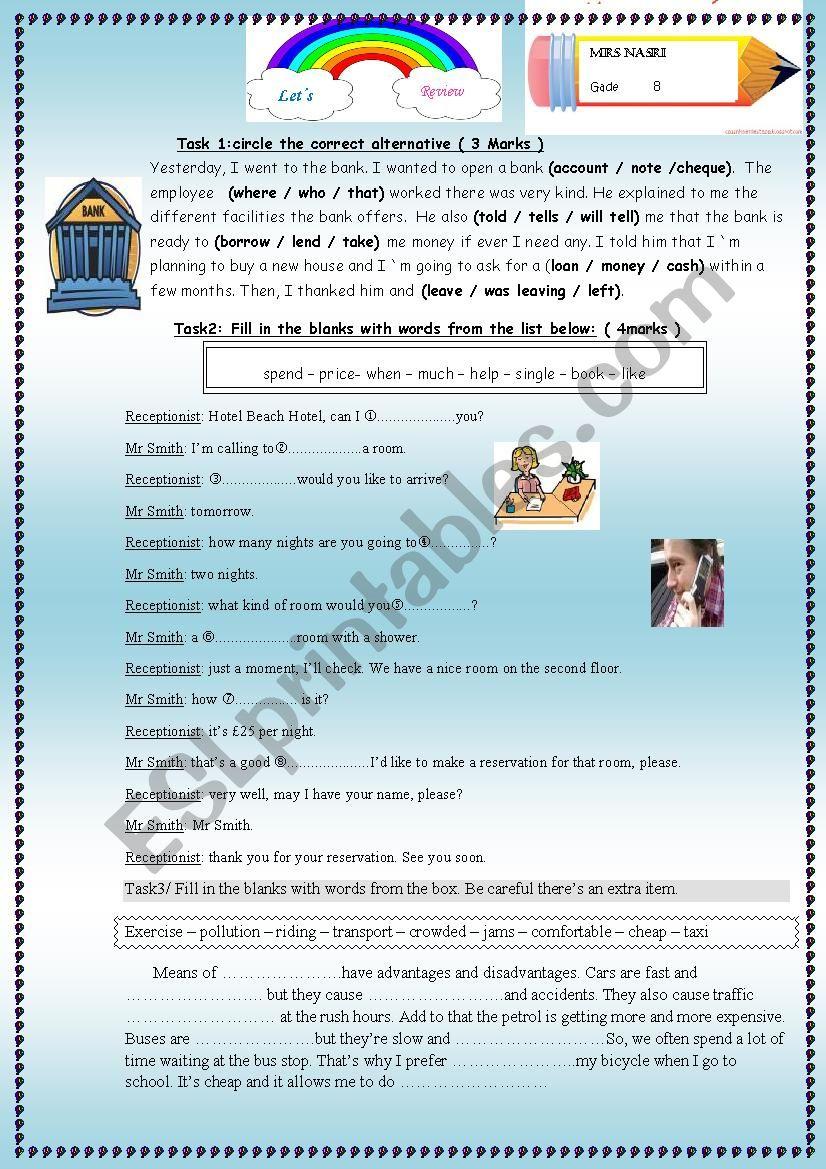 Review session for grade 8 worksheet