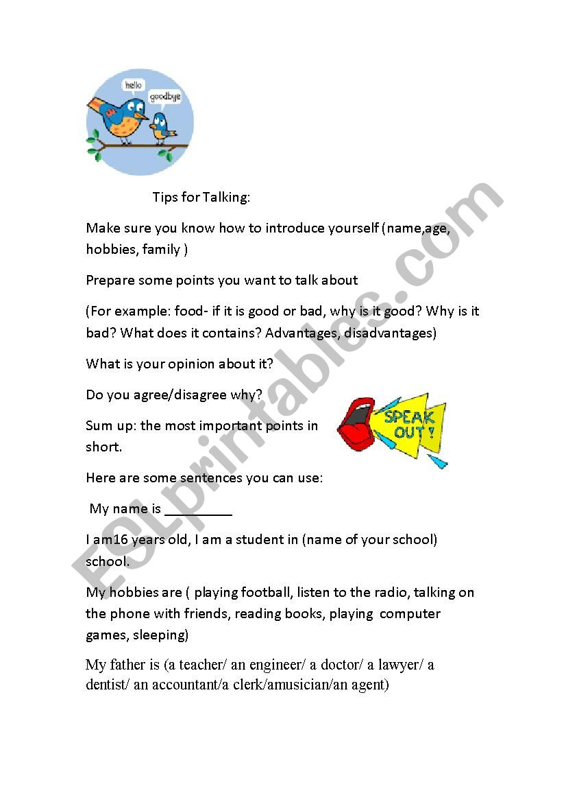 Talking worksheet