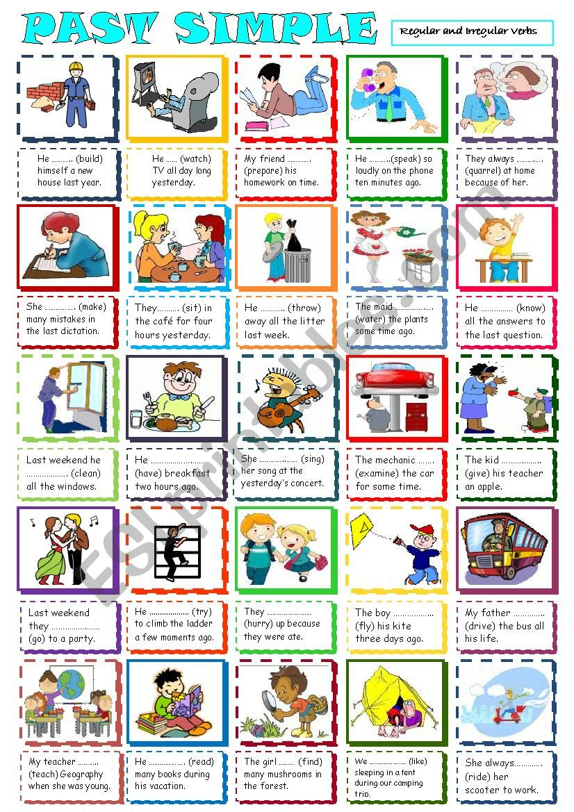 Past Simple mixed verb type worksheet