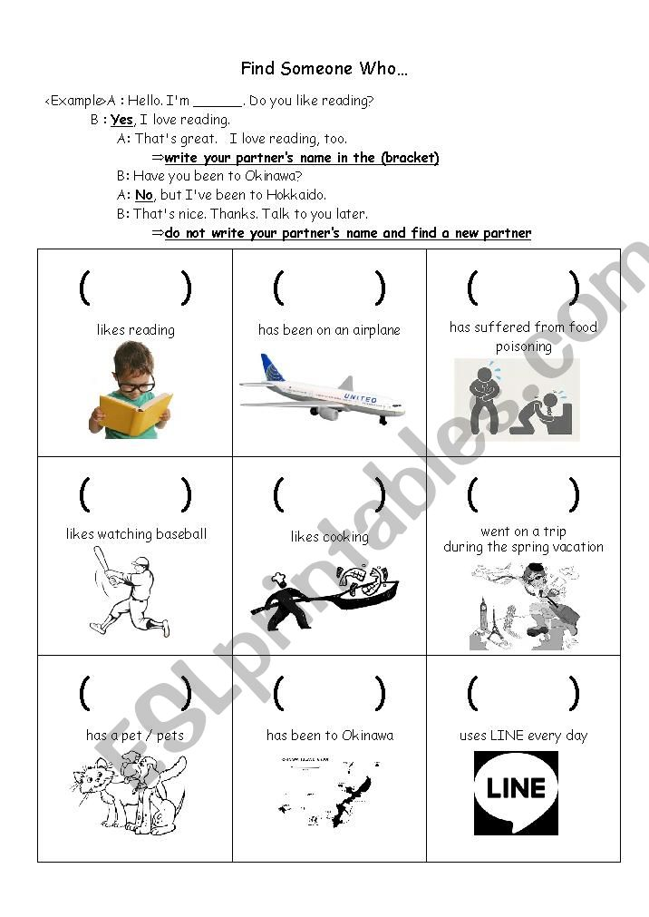 Find Someone Who Worksheet worksheet