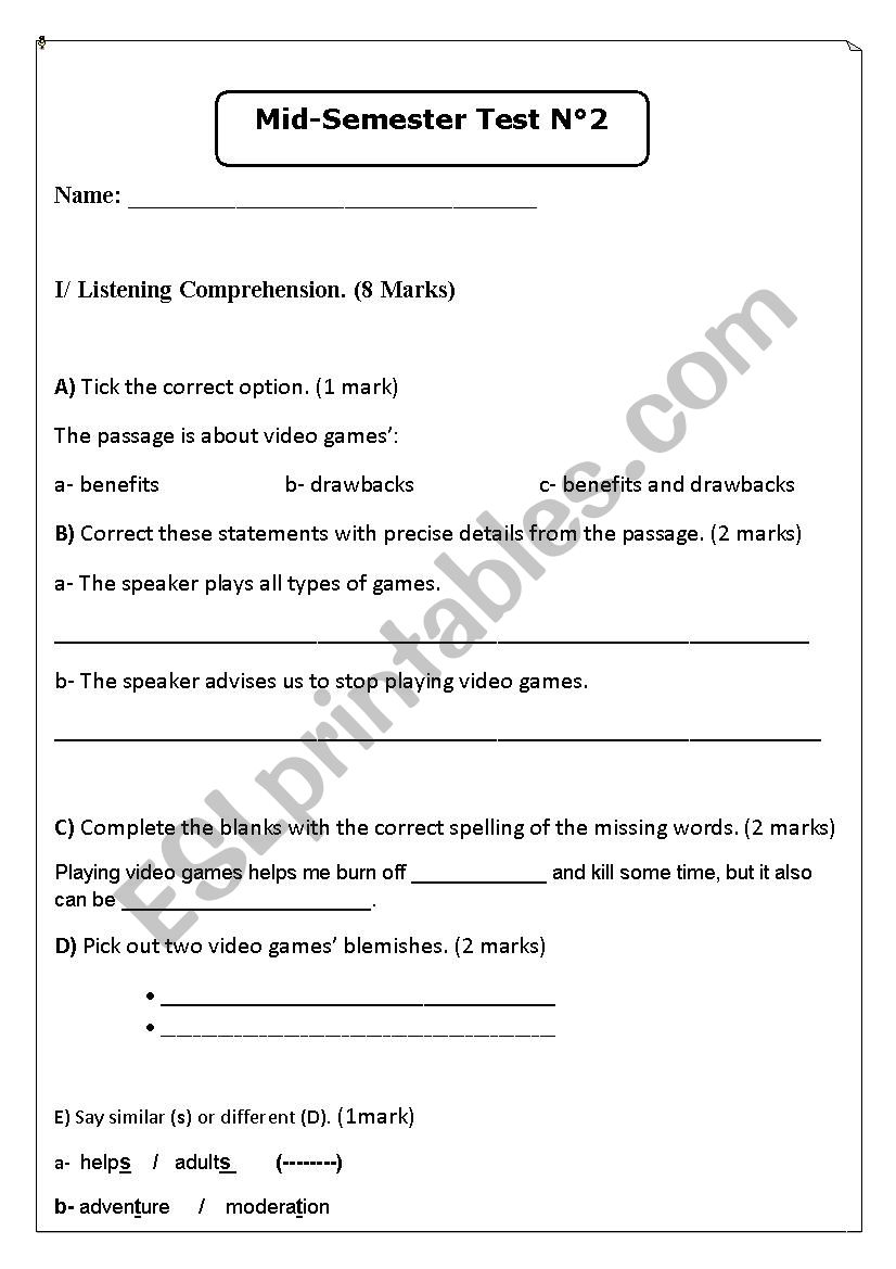 exam about video games listening with audio