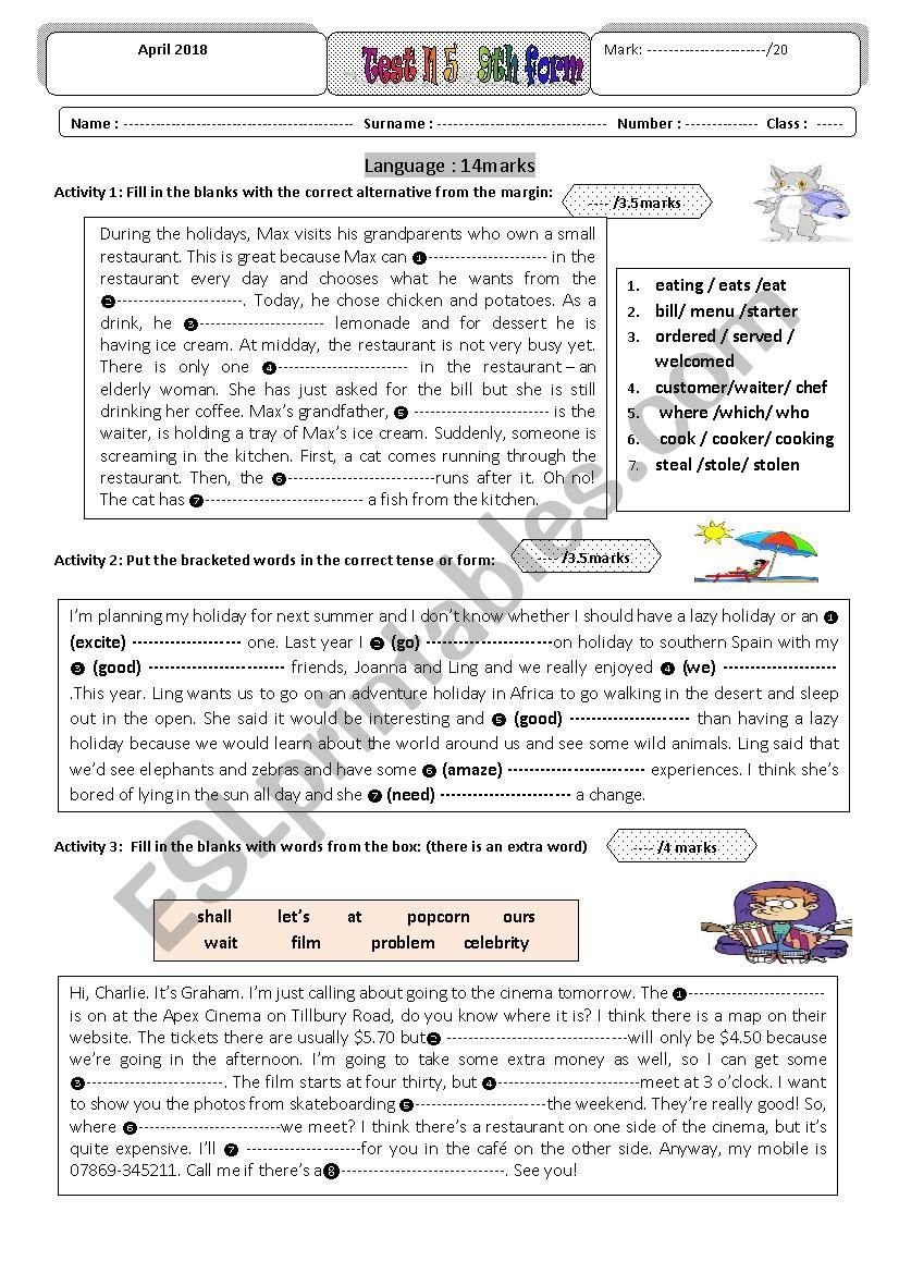 entertainment test N5  worksheet