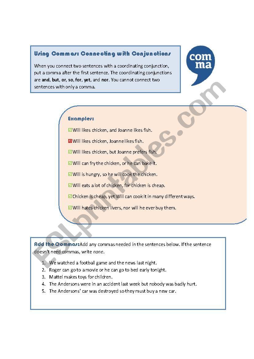 Commas: Coordinating Conjunctions