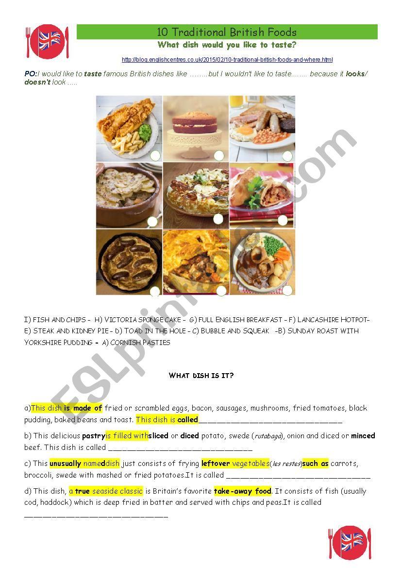 Famous British recipes worksheet
