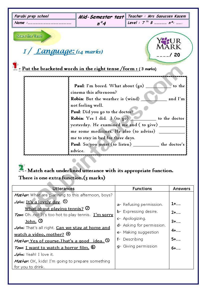 Mid Semester test n 4 7th form
