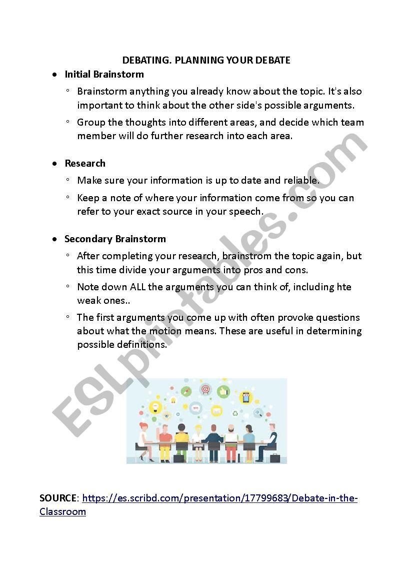 PLANNING A DEBATE worksheet