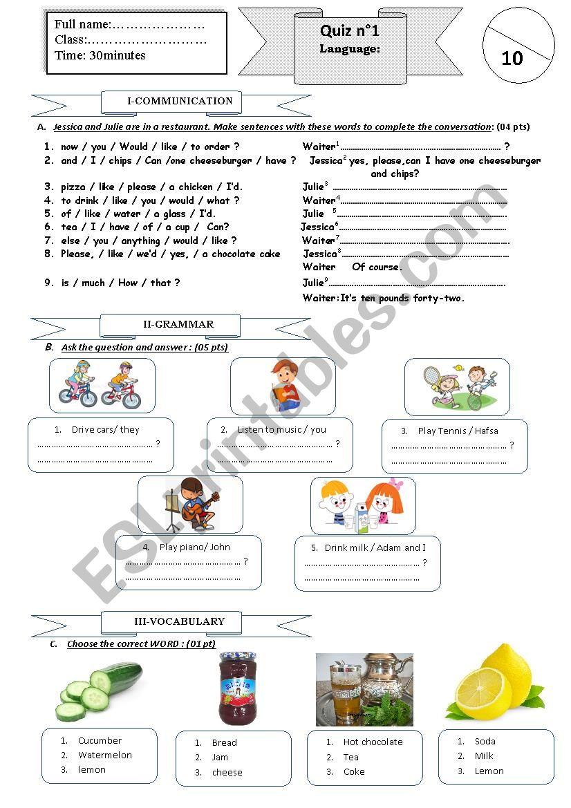 quiz 1 semester2 worksheet