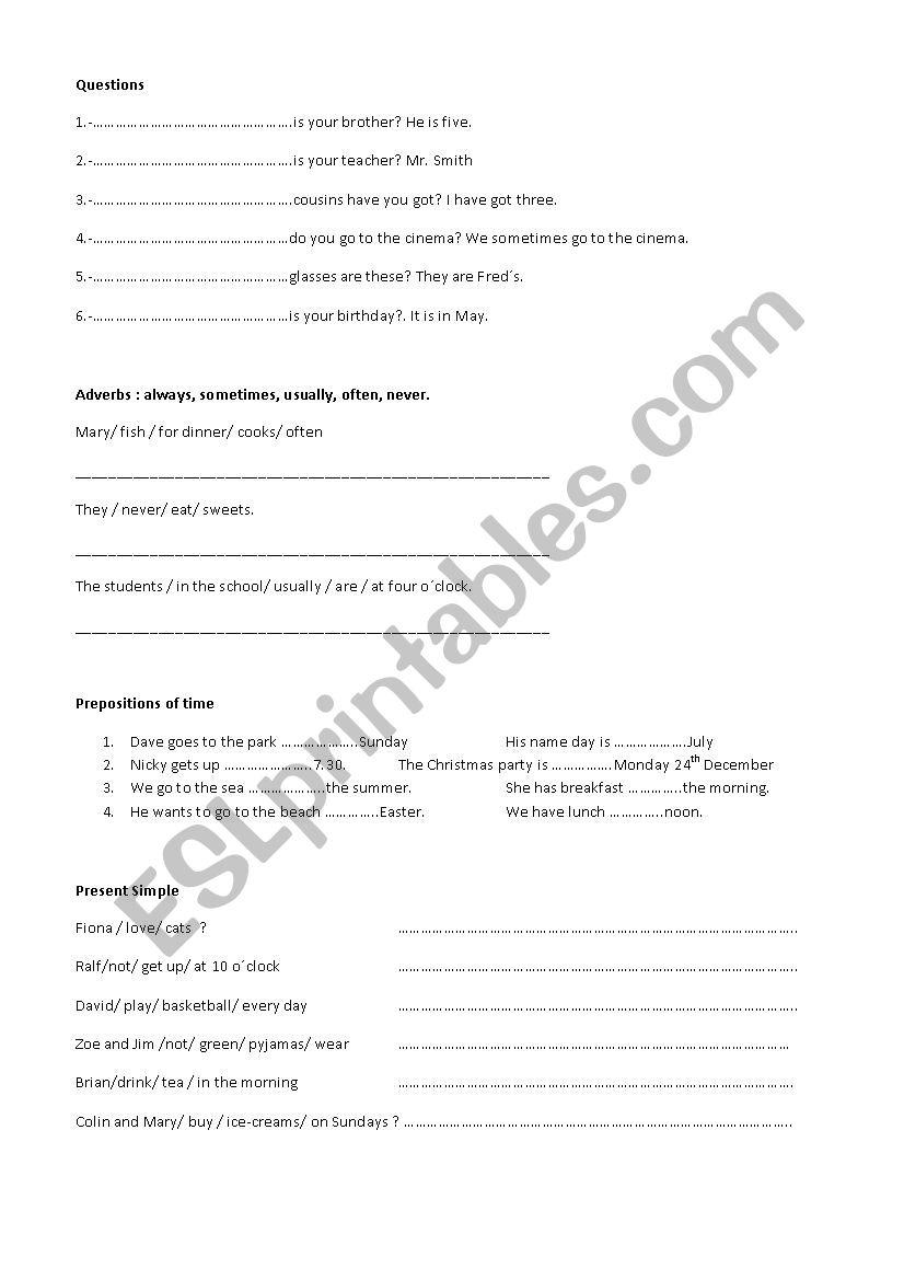 GRAMMAR REVISION PRESENT worksheet