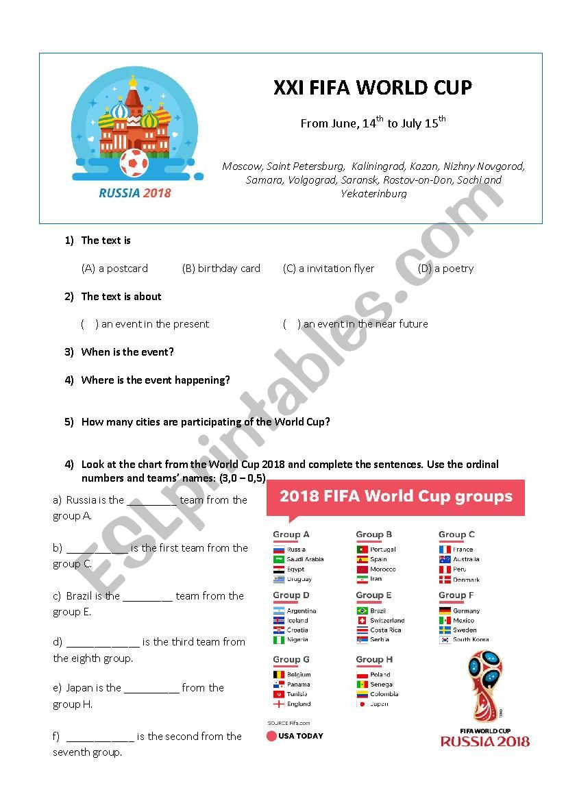 The World Cup Russia 2018 worksheet
