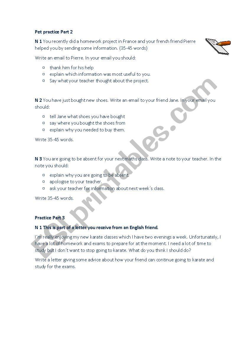 Pet practice. worksheet