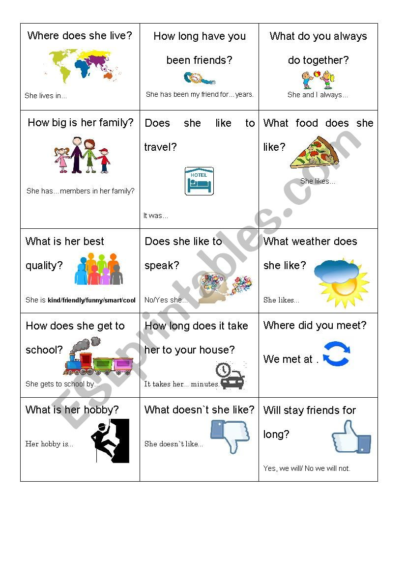 My Best Friend INterview worksheet