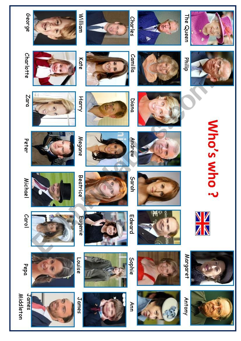 Who´s who? Royal Family worksheet
