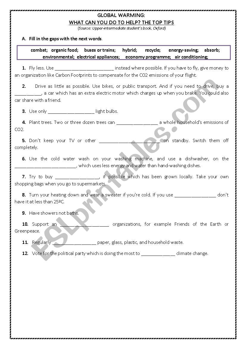 Environment worksheet