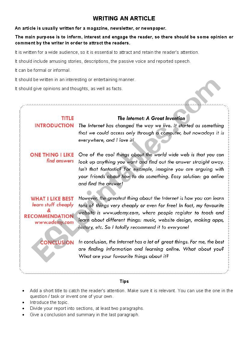 Writing an Article worksheet