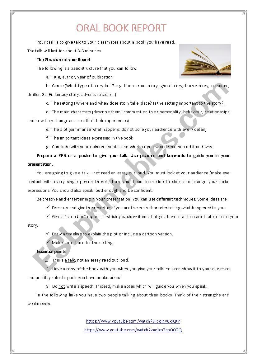 5 minute oral book report