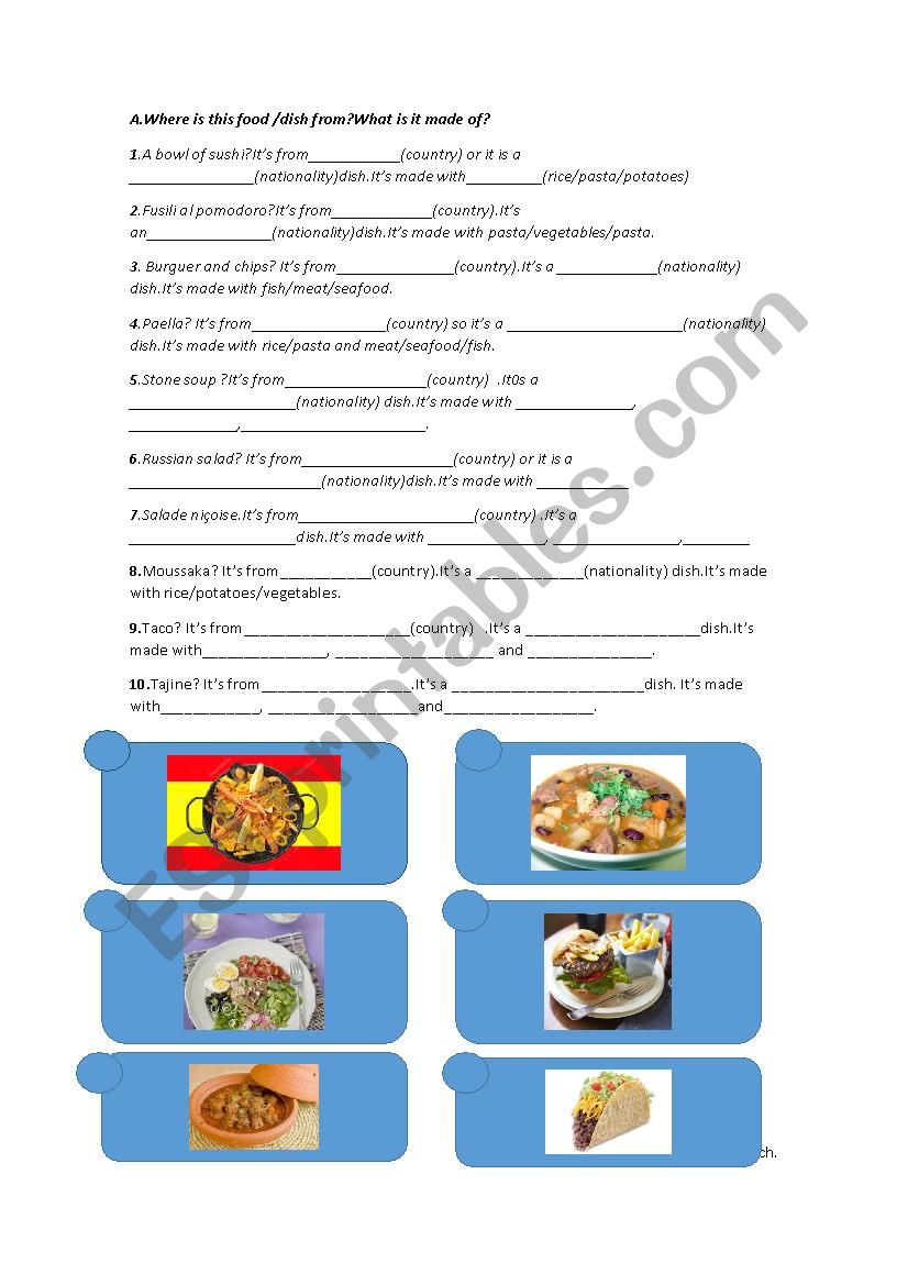 Food from different countries worksheet