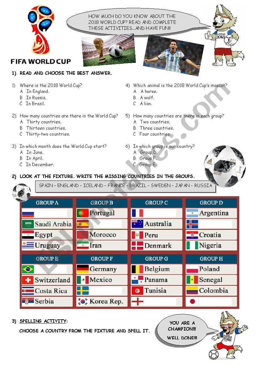 2018 World Cup activities worksheet