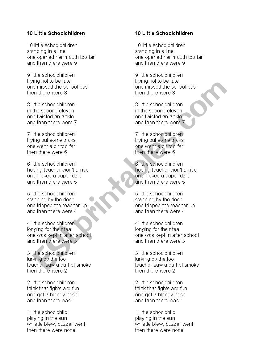 Ten Little School Children Poem And Simple Comprehension