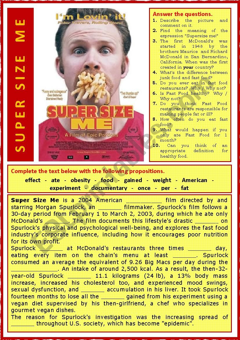 Super Size Me worksheet