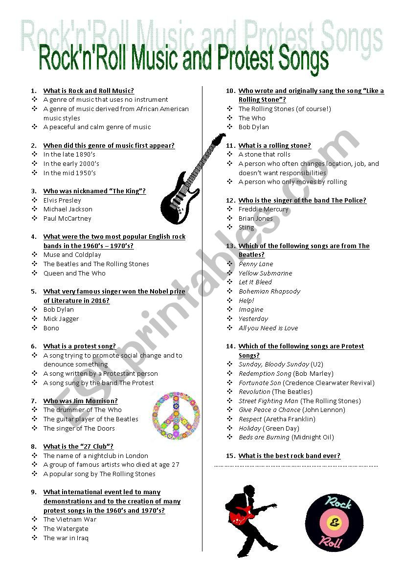 Rock´n´Roll Music and Protest songs