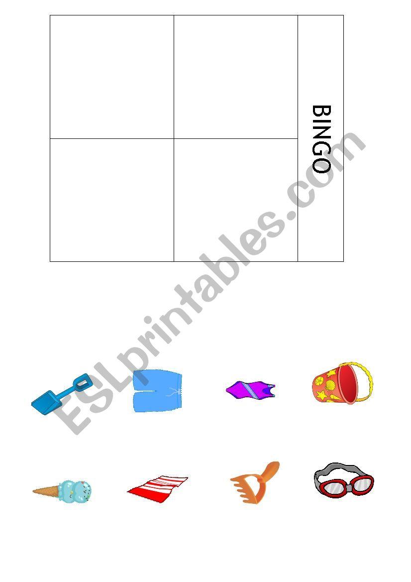 Summer bingo worksheet