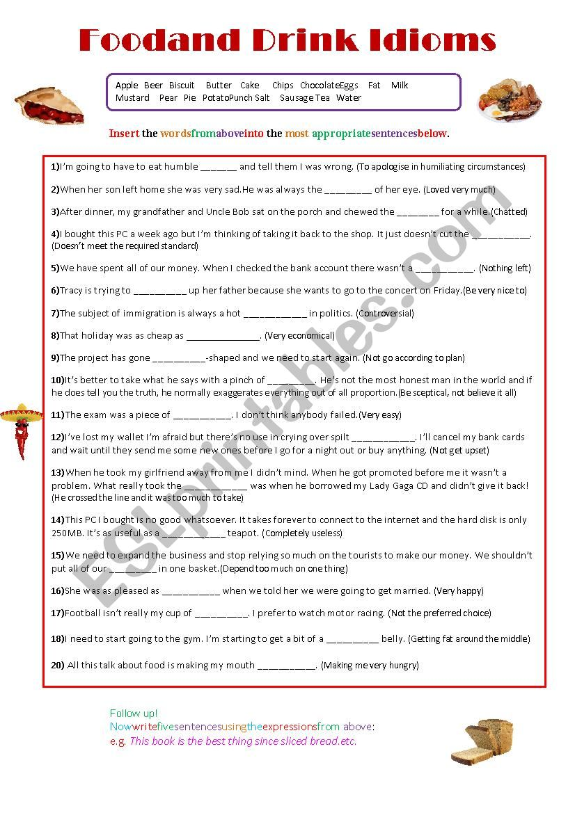 Food and Drink Idioms worksheet