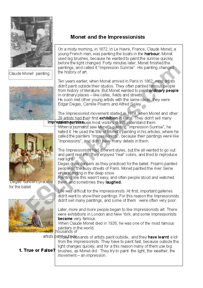 Monet and the Impressionists worksheet
