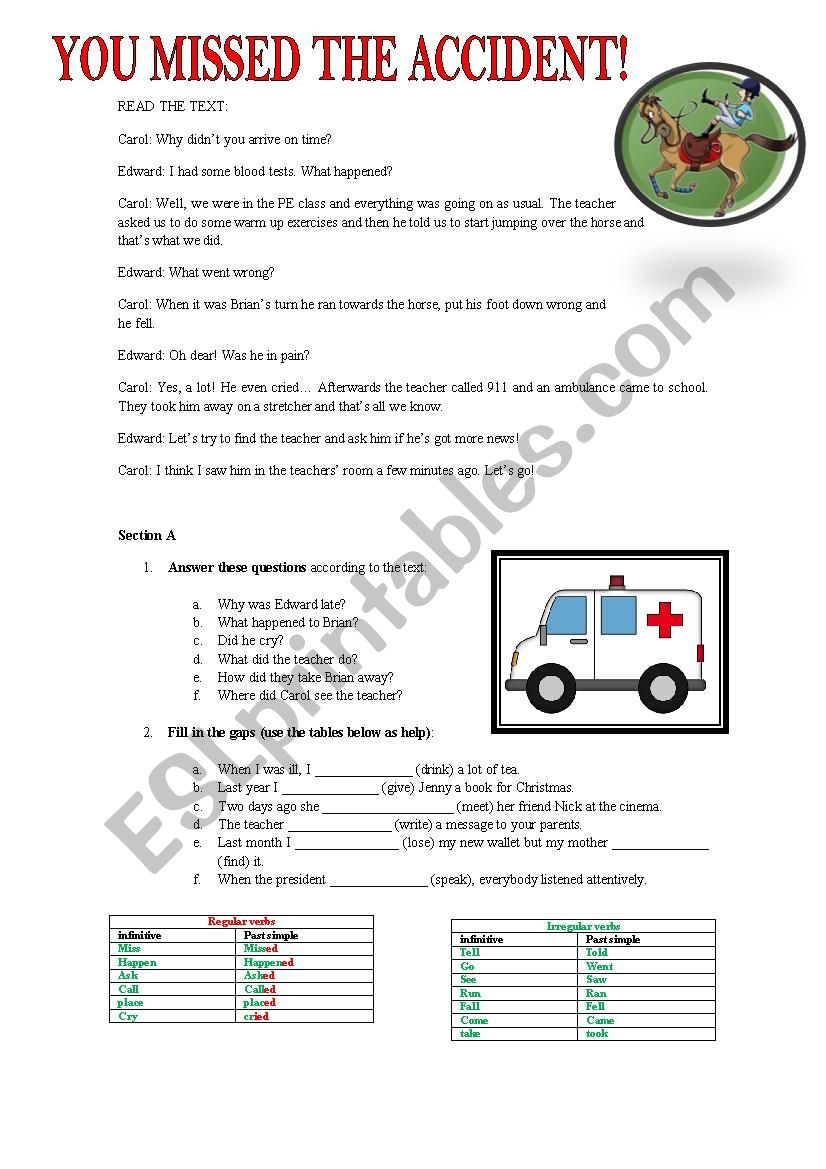 THE ACCIDENT worksheet