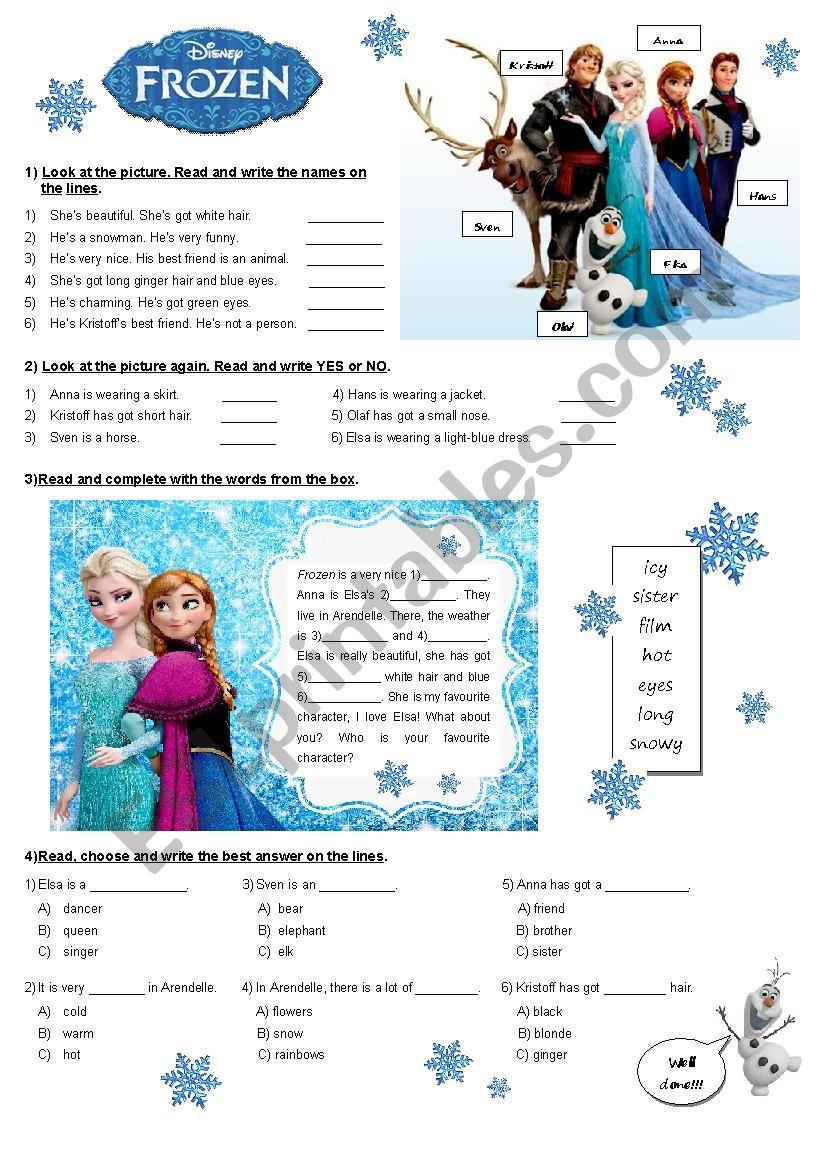 Frozen activities worksheet