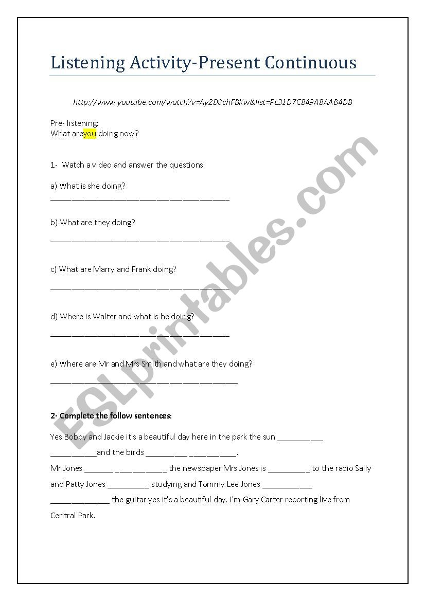 Listening Present Continuous worksheet