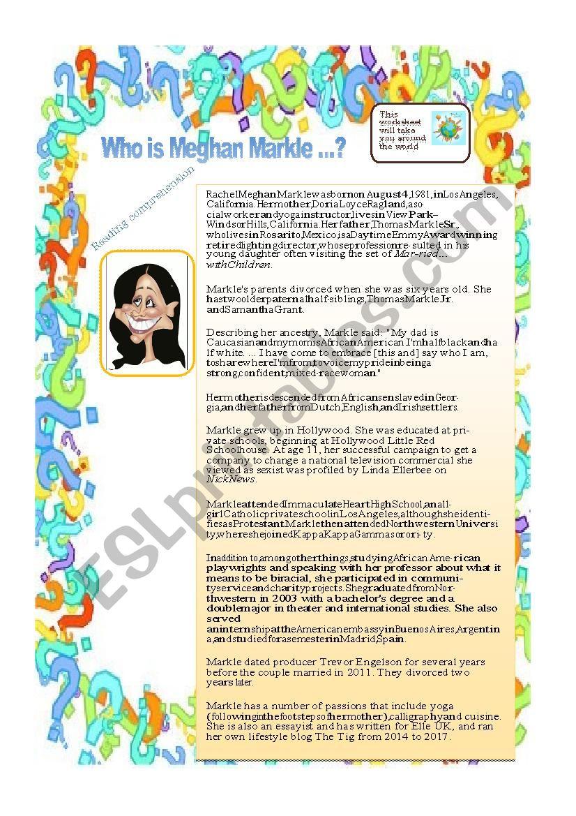 Who is Meghan Markle ? worksheet