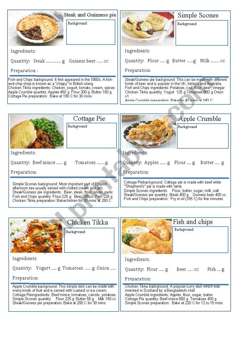 British Food Information Game worksheet