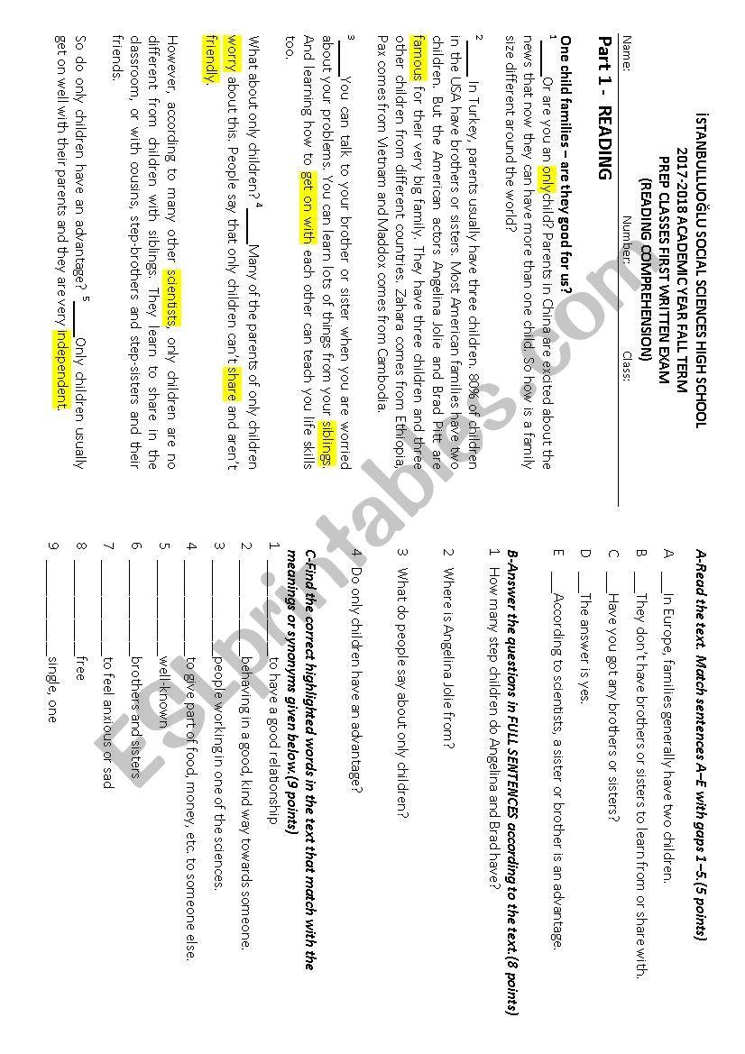 A prep class exam worksheet