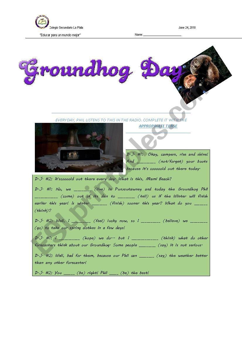 Groundhog Day Exam worksheet