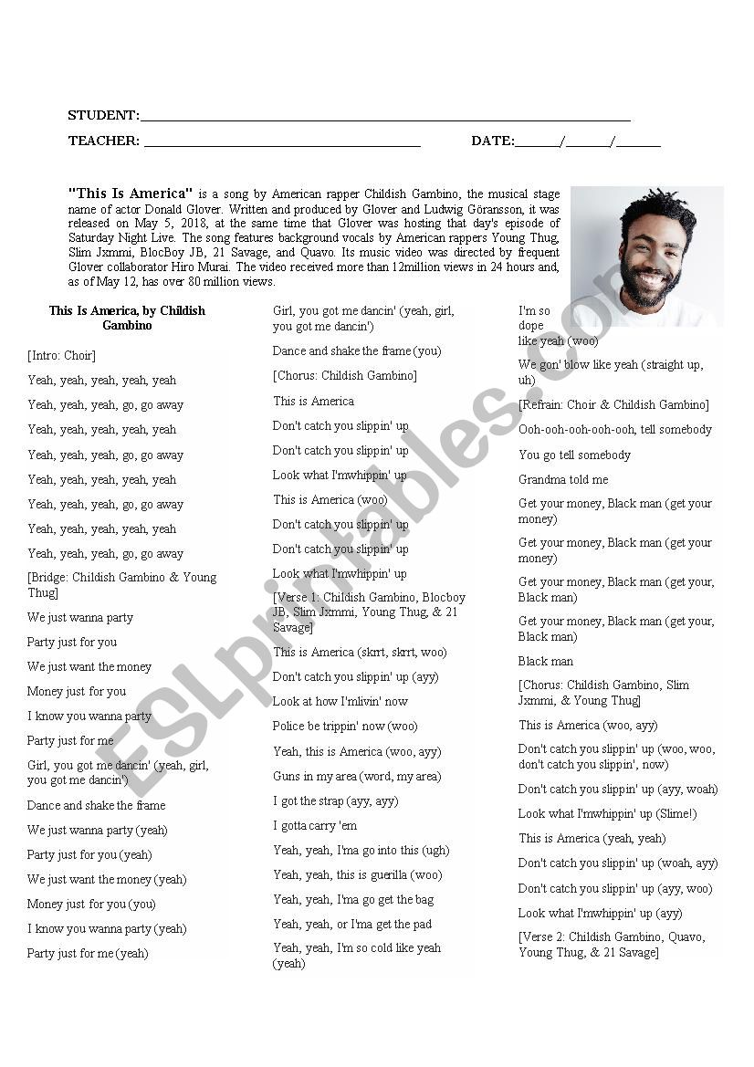 Song This is America worksheet