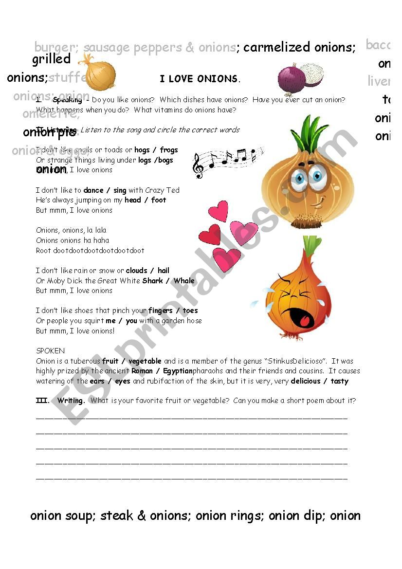 I Love Onions Song Activity worksheet