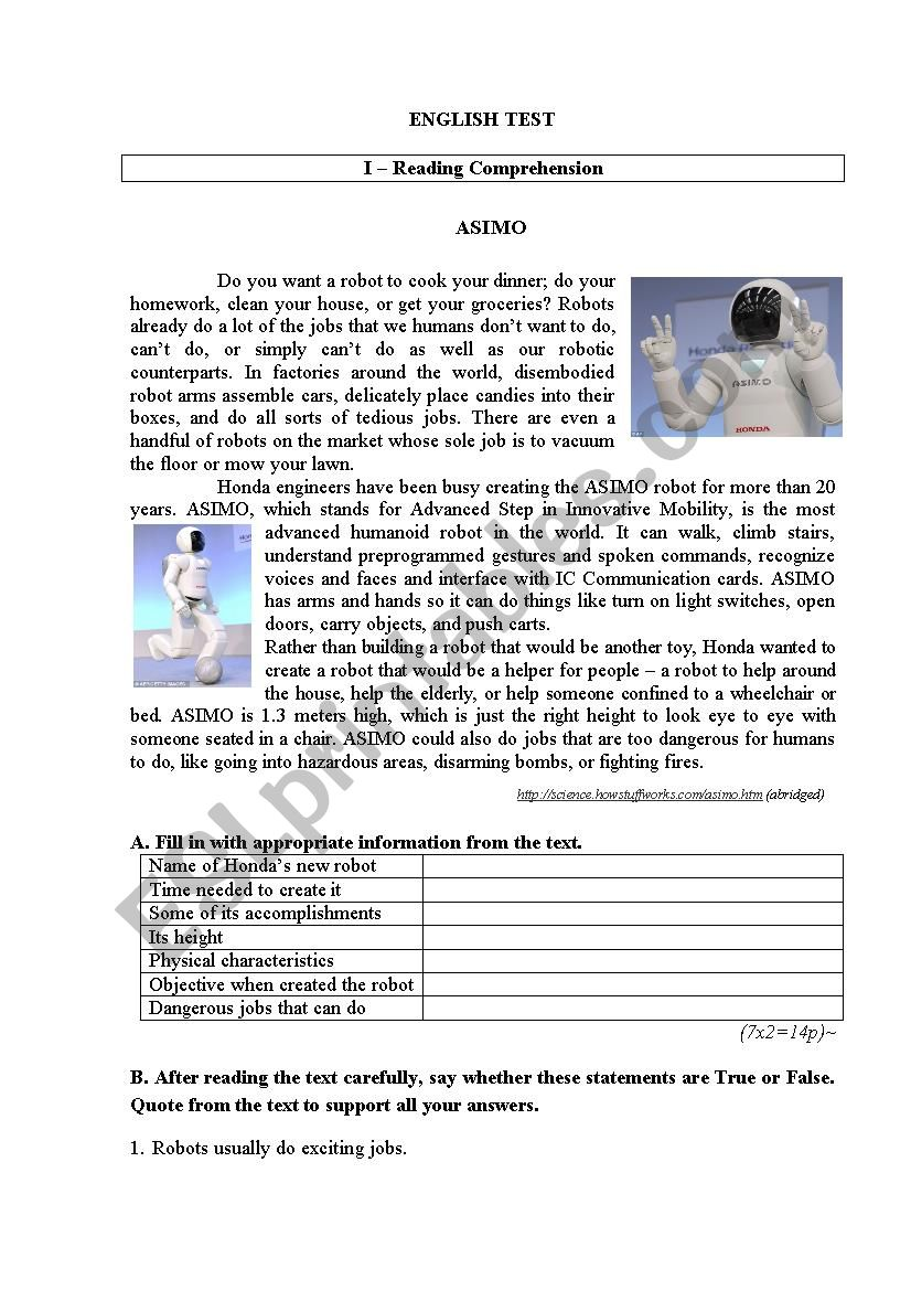 Test on robots 1 worksheet