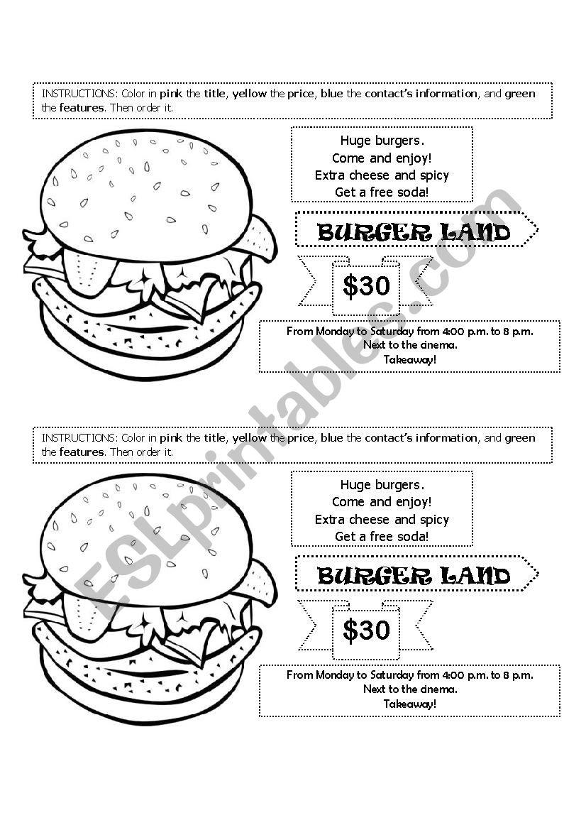 Advertisement worksheet