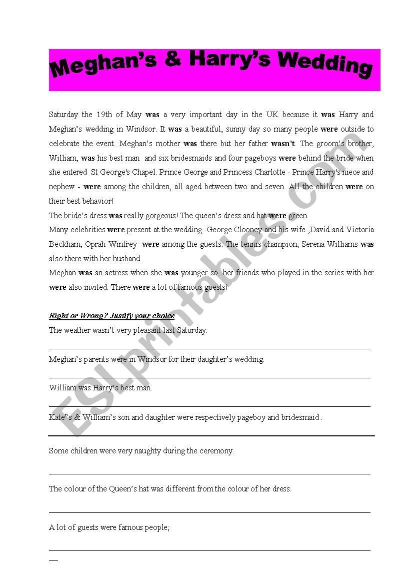 Meghan´s & Harry´s wedding worksheet