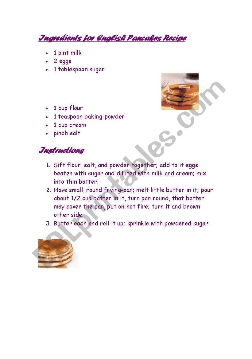 recipe pancakes worksheet