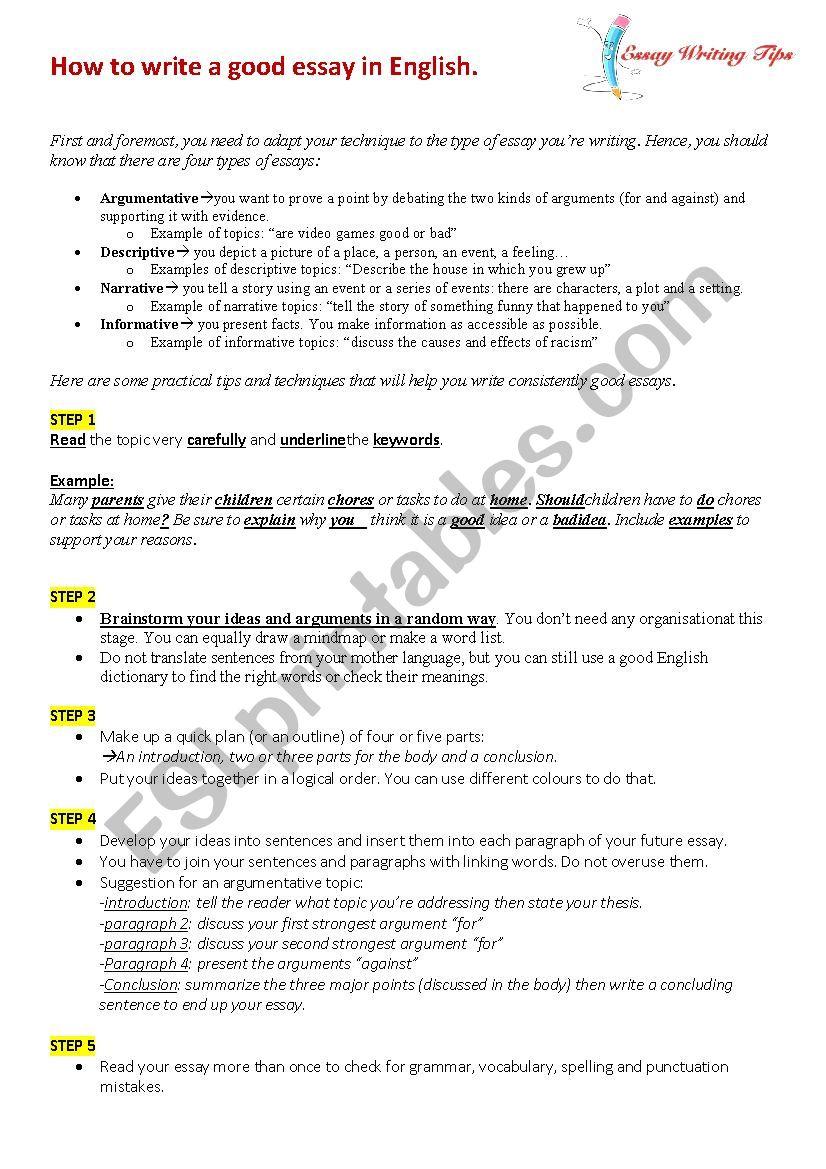Learn How To Write A Good Essay ESL Worksheet By Ben Deggoun