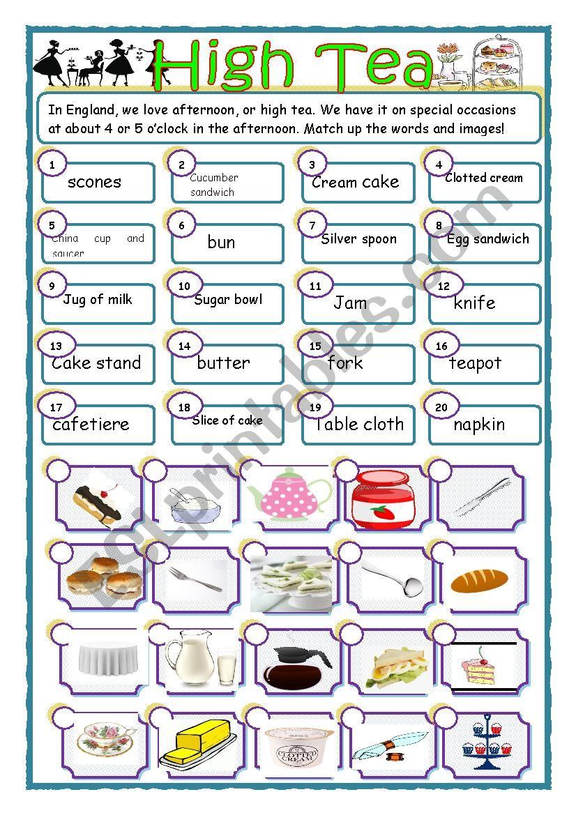 High Tea match-up exercise.  worksheet