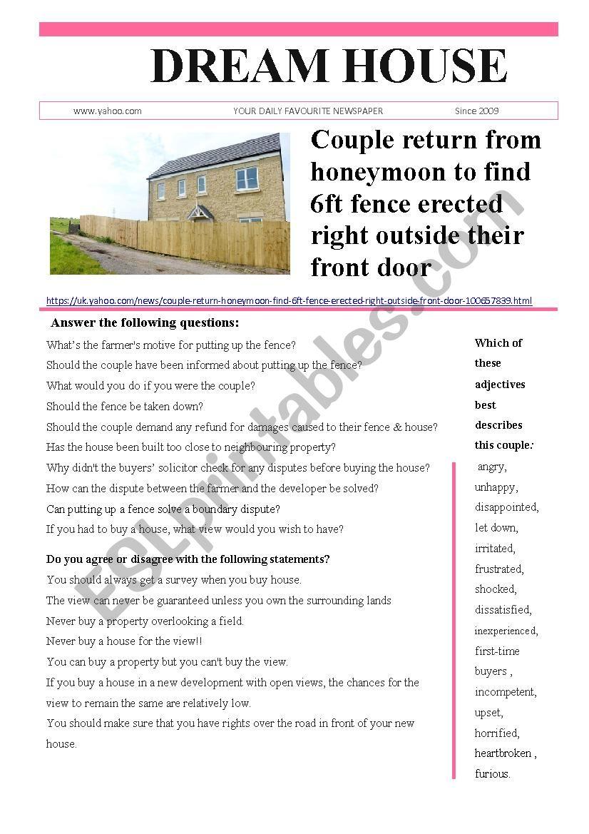 Dream House worksheet
