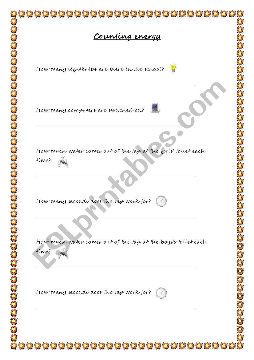 Counting energy worksheet